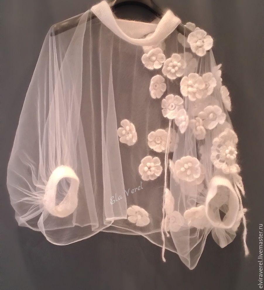 Купить Вязаная туника-накидка '' ШЕЛЛИ - Бохо ''. - цветочный, белый, стильная одежда #father