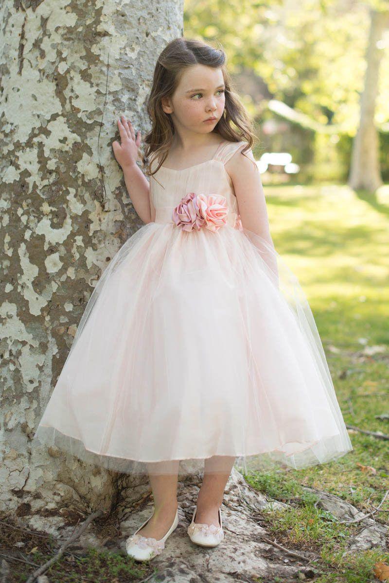 Blush tulle ball gown princess flower girl dress for