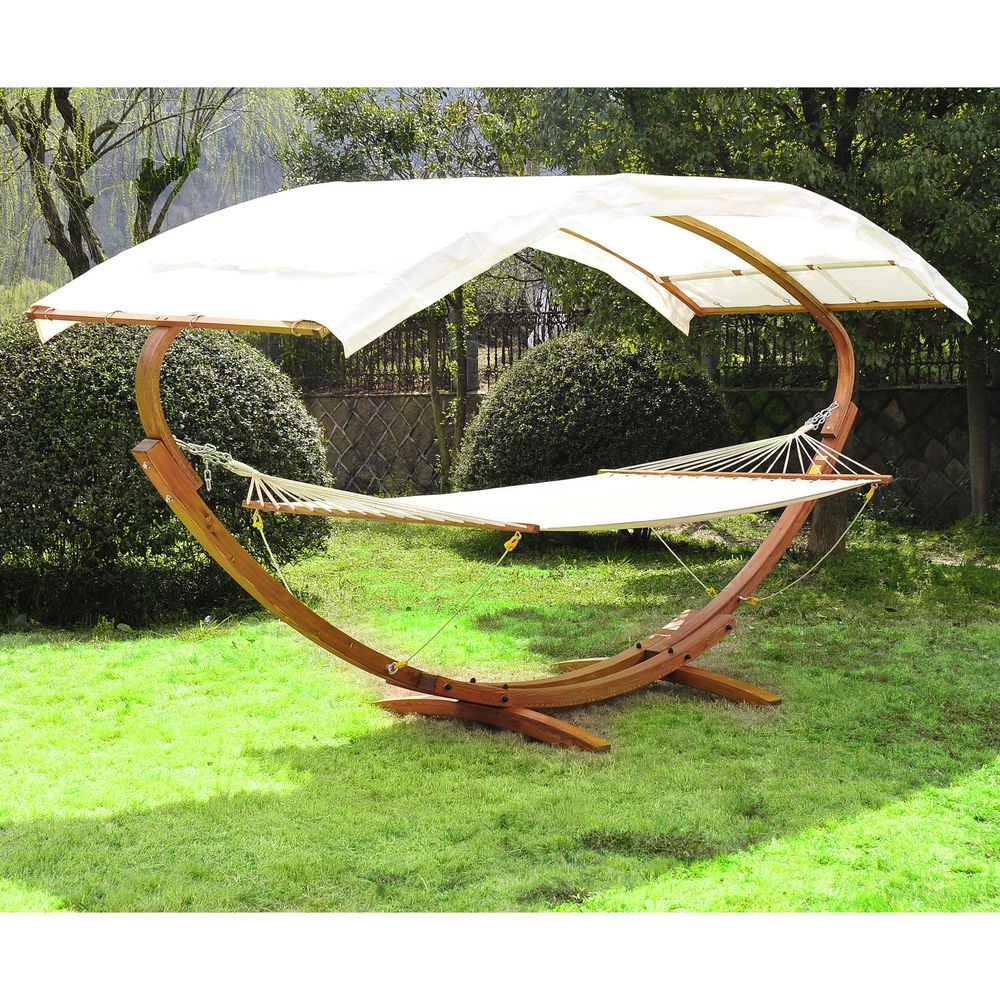 Patio Outdoor Curved Arc Double Hammock Stand Wooden Bed