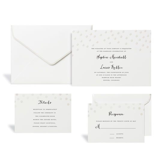 White Pearl Dot Wedding Invitation Kit By Celebrate It Products