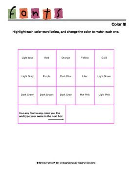Changing Font Colors: A Microsoft Word Activity Your students can ...