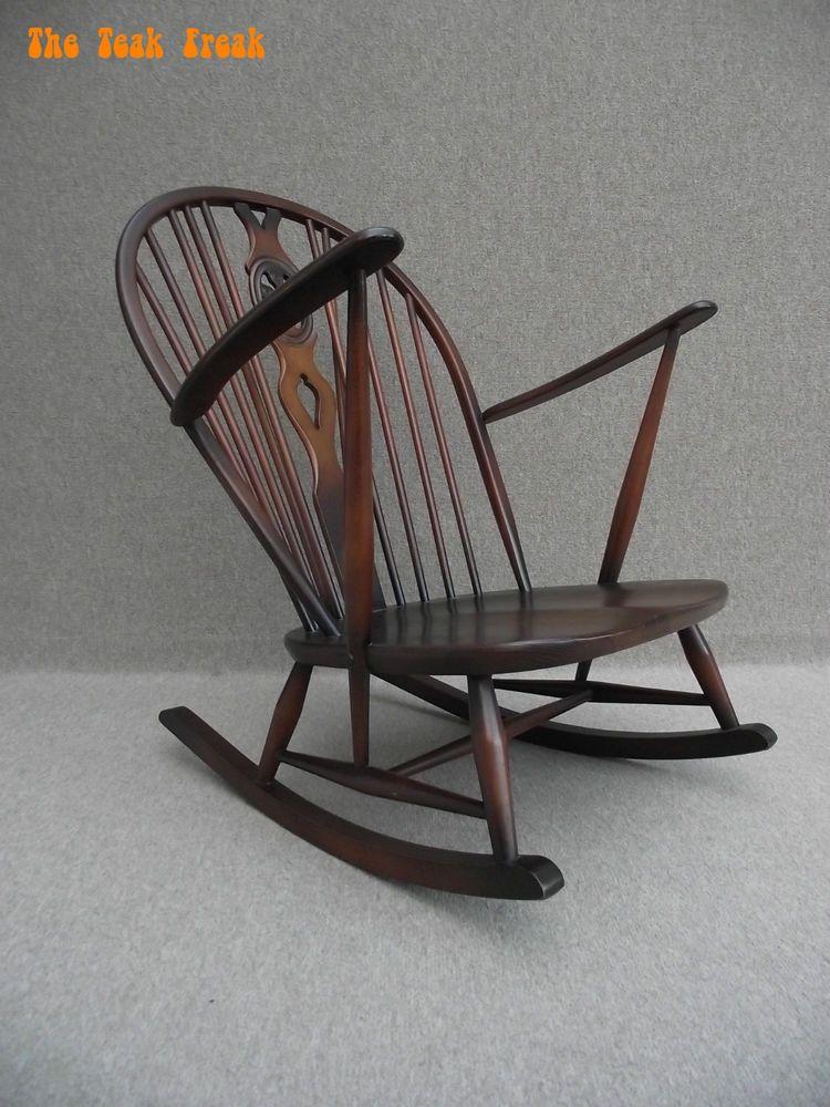 Ercol Windsor 50s 60s Elm Armchair Rocking Chair Cream