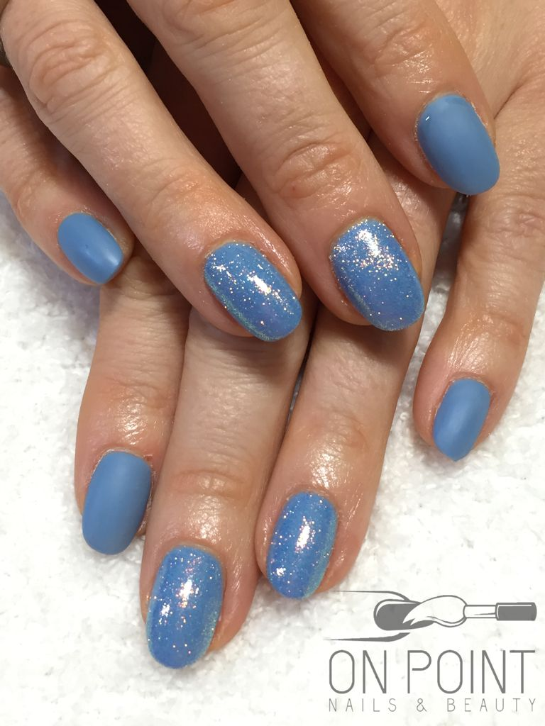 Fluid nail design acrylic nails with blue gel polish with ...