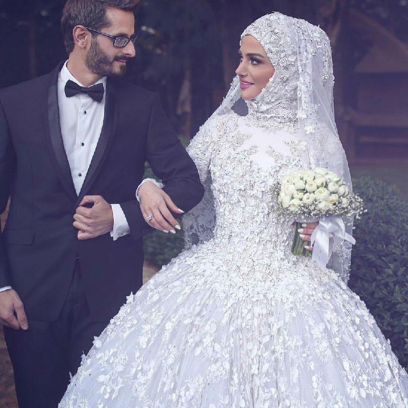 Muslim Wedding Dresses Long Sleeve Lace Beaded Turkish Islamic Women Bridal Gown With Muslim Wedding Dresses Long Sleeve Wedding Dress Lace Wedding Dress Backs,Wedding Short Royal Blue Bridesmaid Dresses