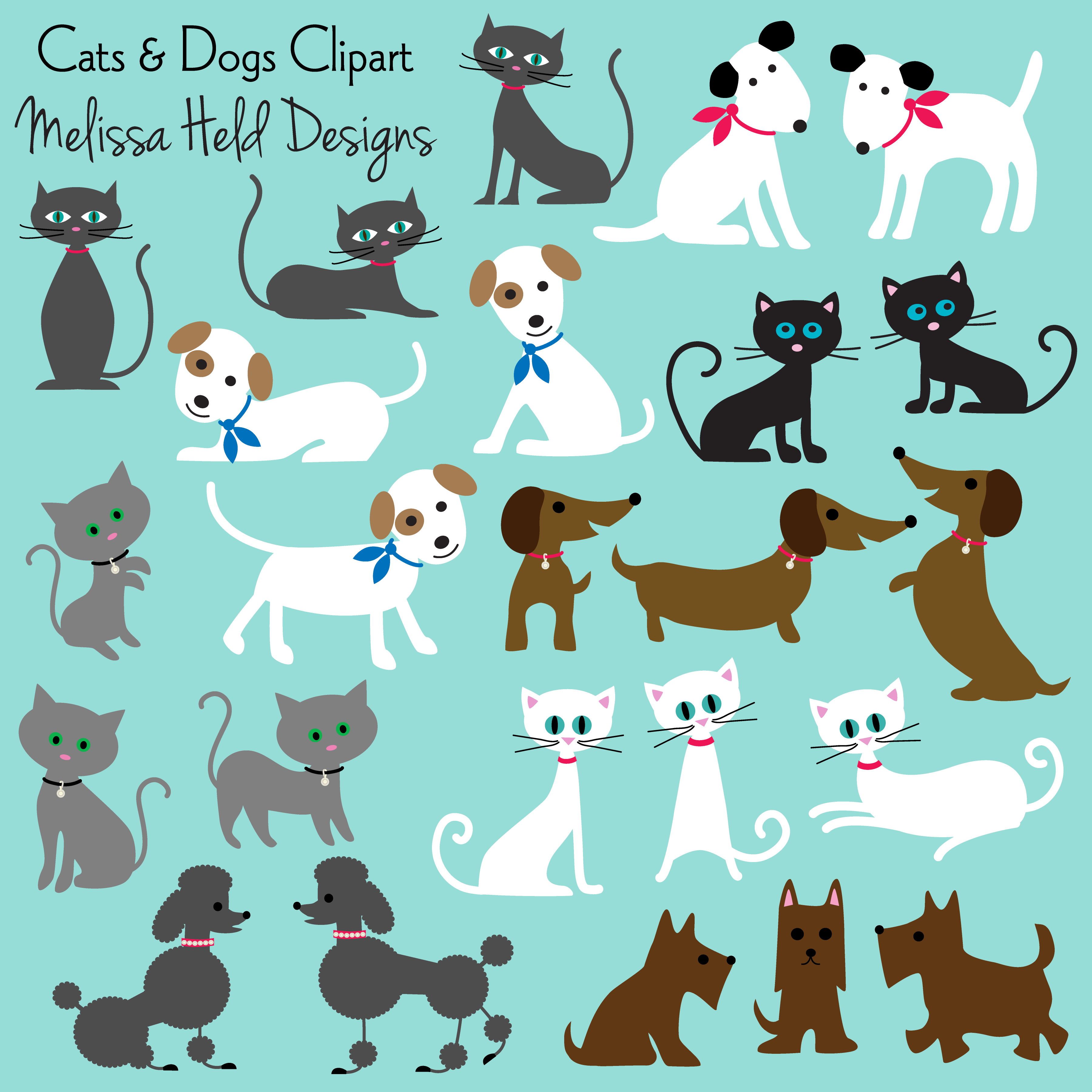 Cats & Dogs Clipart Cute cats, dogs, Dog cat, Cute dogs