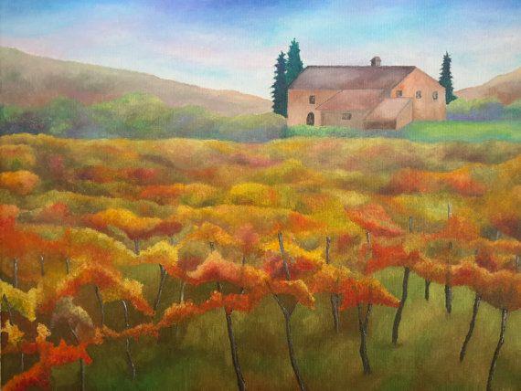 Vineyard In Fall Colors Original Acrylic by LouisaBryantAcrylics