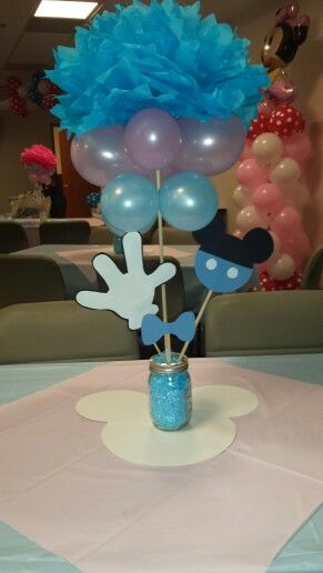 Twins Baby Shower Theme Baby Mickey And Minnie Centerpiece