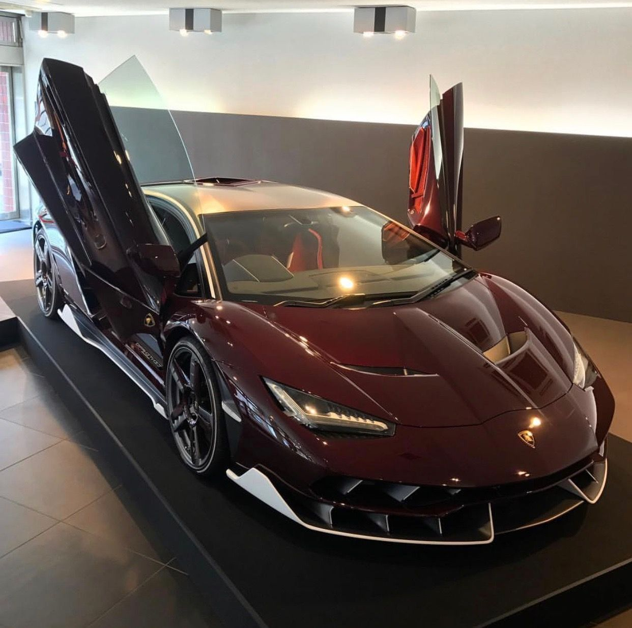 Lamborghini Centenario Coupe Made Out Of Exposed Red Carbon Fiber W Bianco Accents And Polished Wheels W Red Carb Futuristic Cars Lamborghini Cars Dream Cars