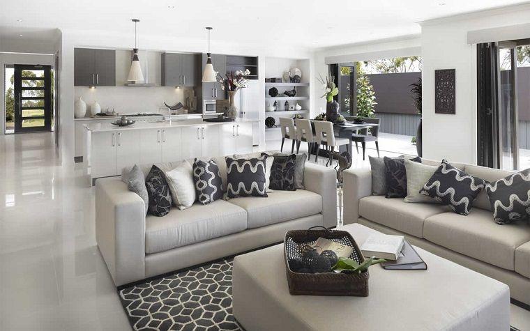 soggiorno con angolo cottura-toni-grigio | Arredamento | Pinterest ...