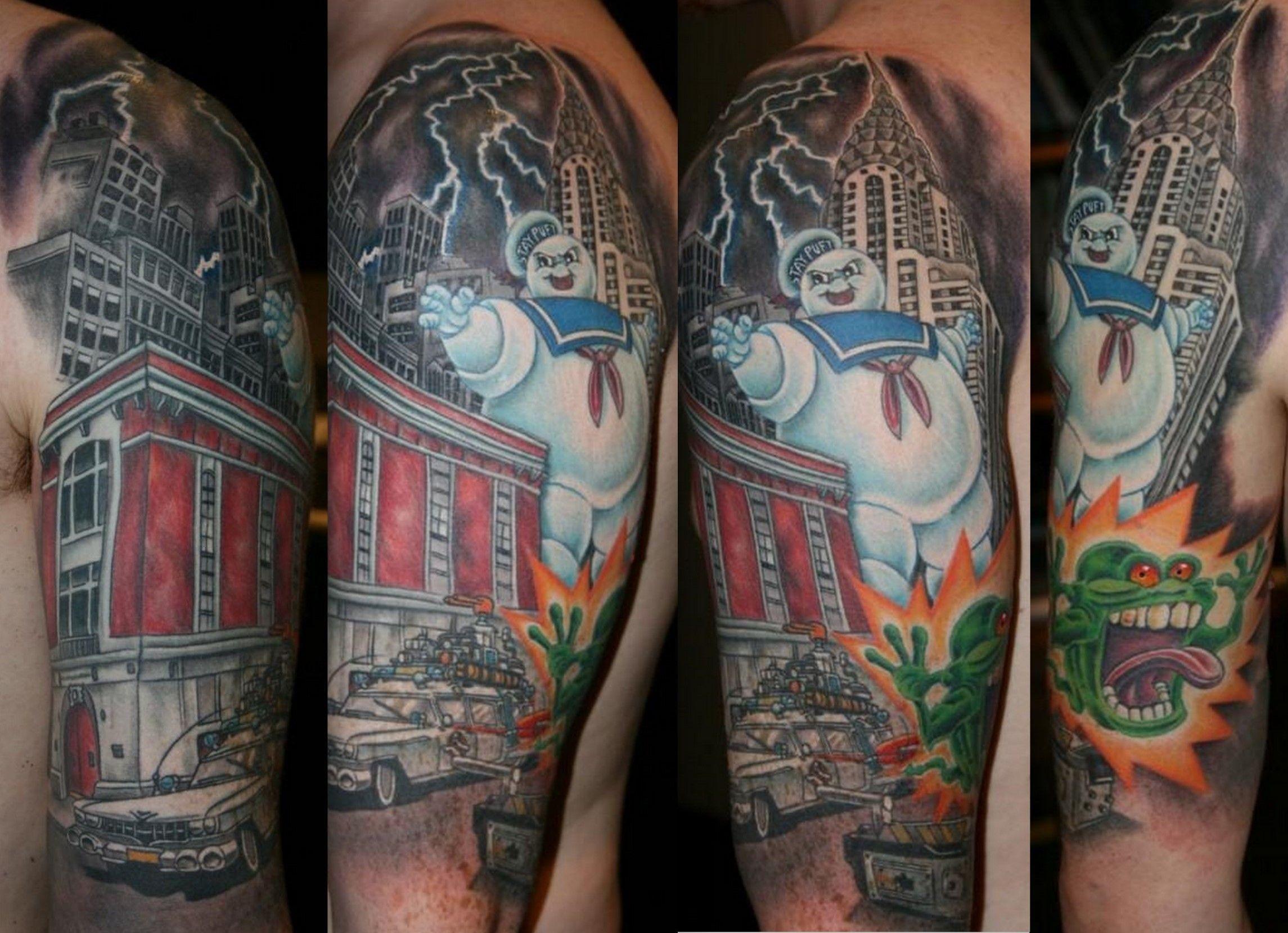 ghostbusters tattoo by Ian Flynn my tattoo portfolio