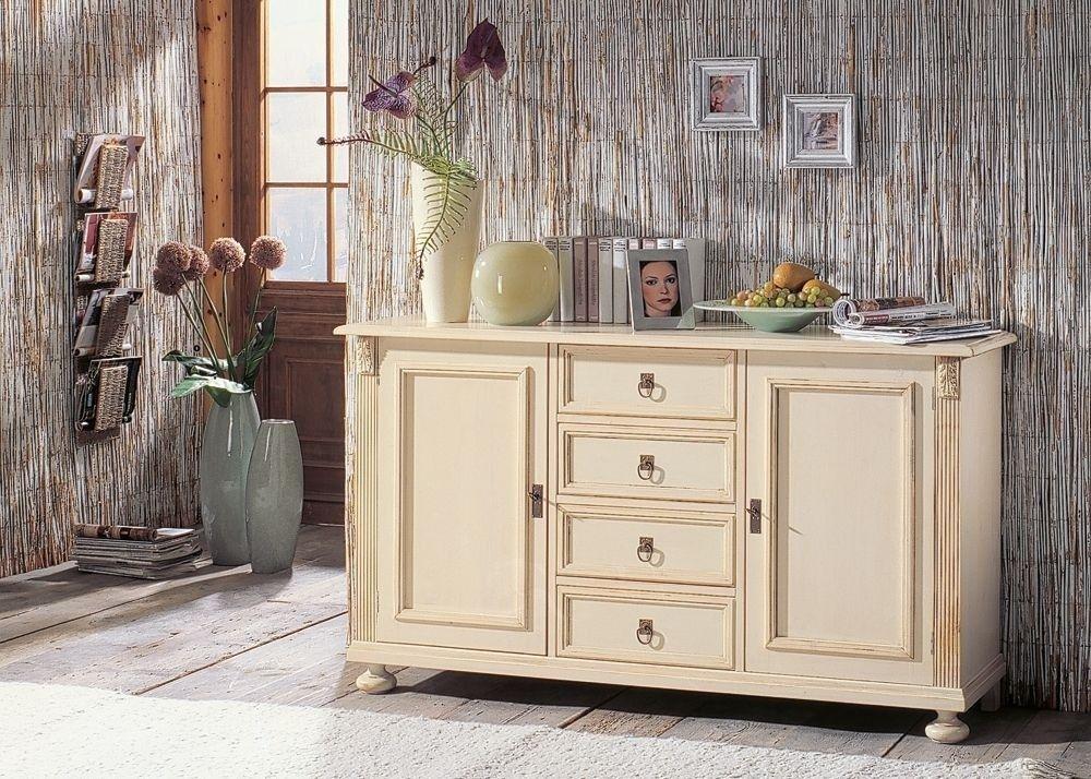Sideboard Alina Fichte Massiv Weiß Gewischt 1721 Buy now at   - wohnzimmer landhausstil weis