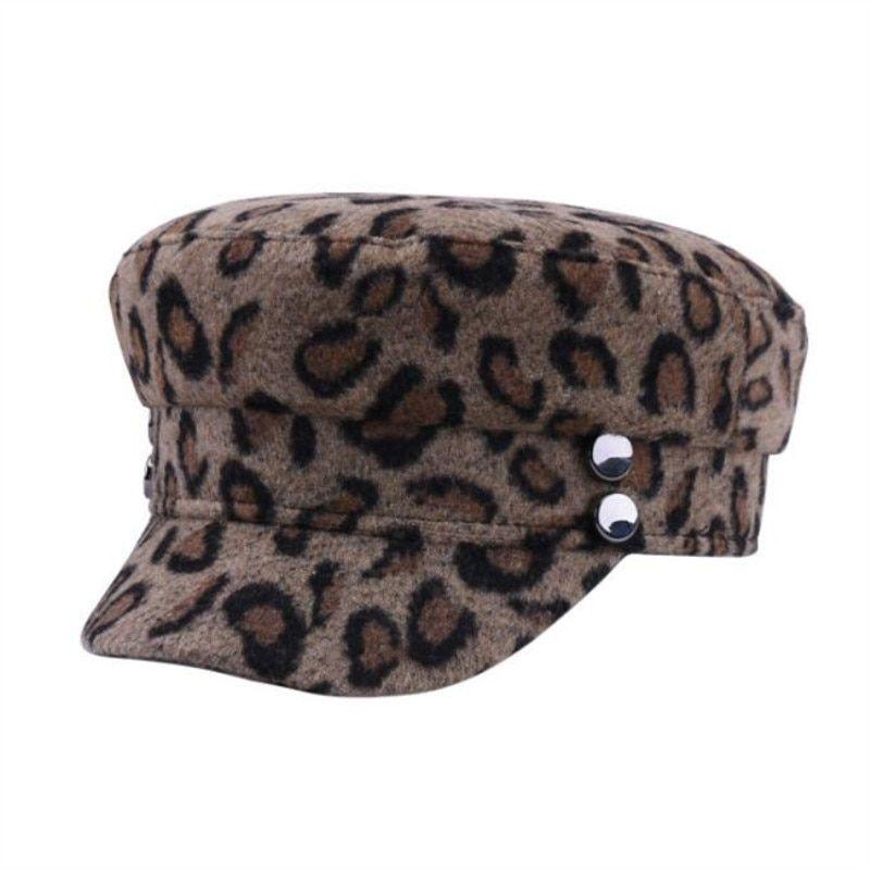 81f4c39087e42 oZyc Beret Female Flat Cap Fashion Leopard Wool Tocas Autumn Winter Hats  For Women Painter Caps