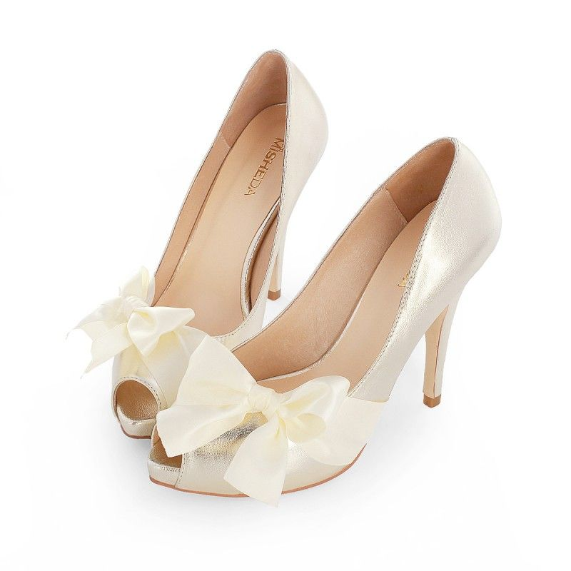 Heels With Bows On Front Wedding Shoes Bow Bride Shoes