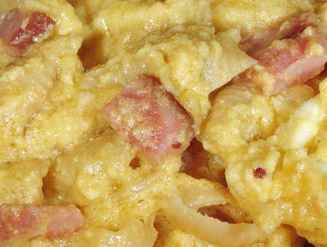 bloemkool/ham in kaassaus  (met pasta of bij aardapelpuree, ook lekker met extra groente zoals verse spinazie of doperwtjes erdoor)