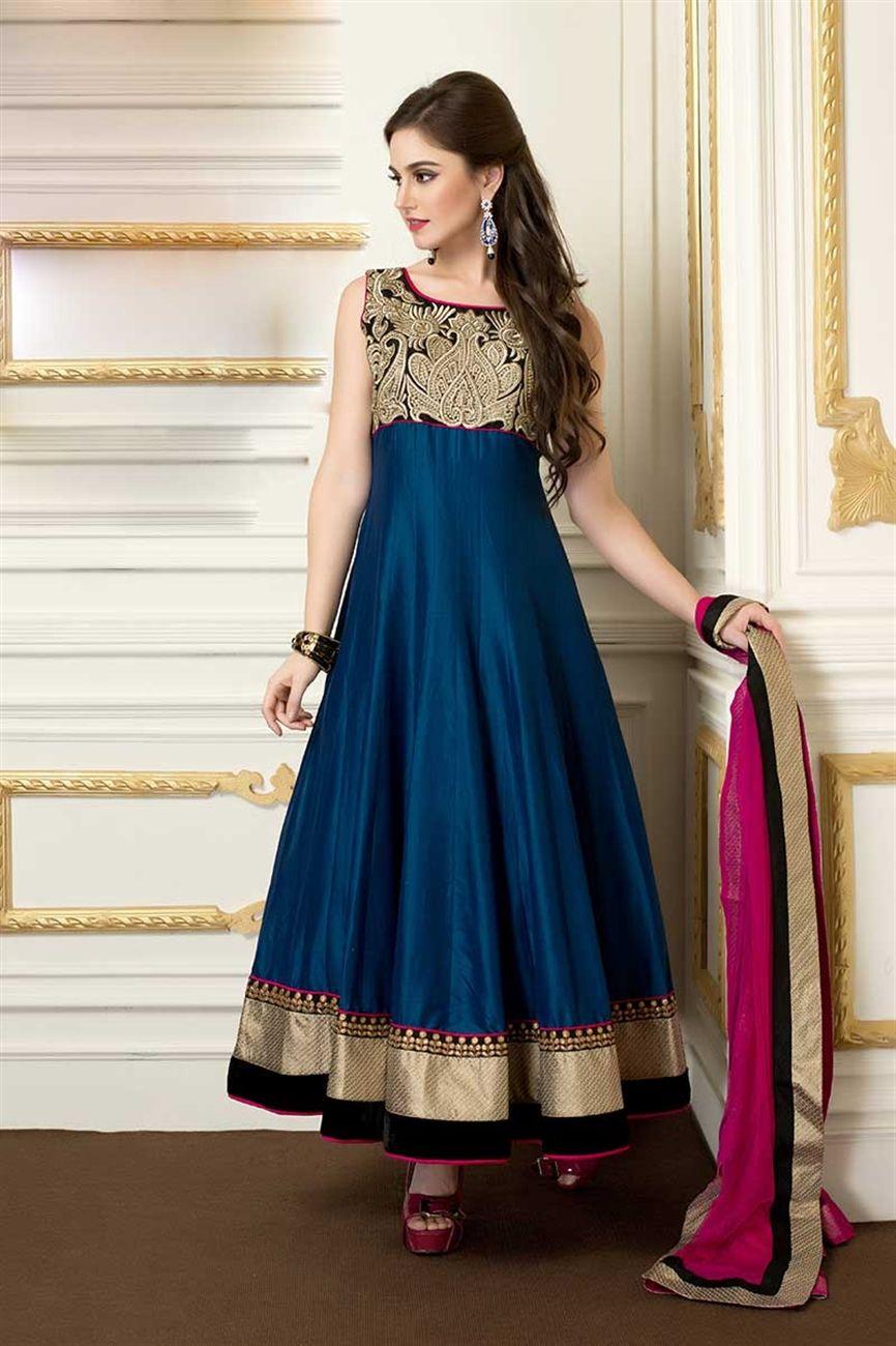 Ravishing pink blue cotton silk suit: Heavy thread embroidered ...