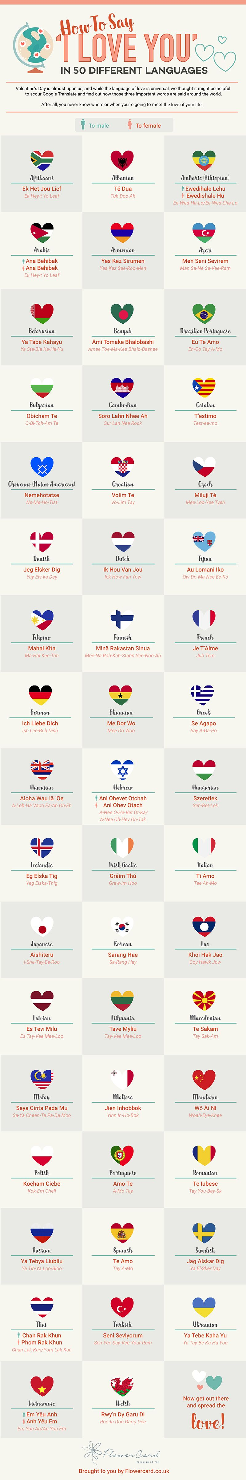 How To Say I Love You In 50 Different Languages Infographic Matador Network Words In Different Languages Educational Infographic Different Languages