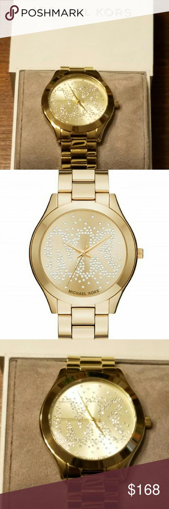 278a93bea7b4 Michael Kors Slim Runway Ladies Watch MK3590 New with tag in box MK LOGO in  crystal
