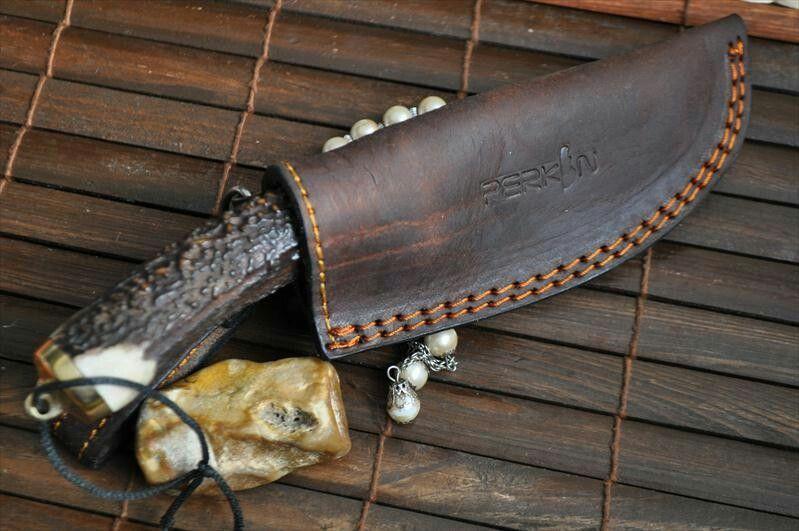 Antler handle knife leather sheath