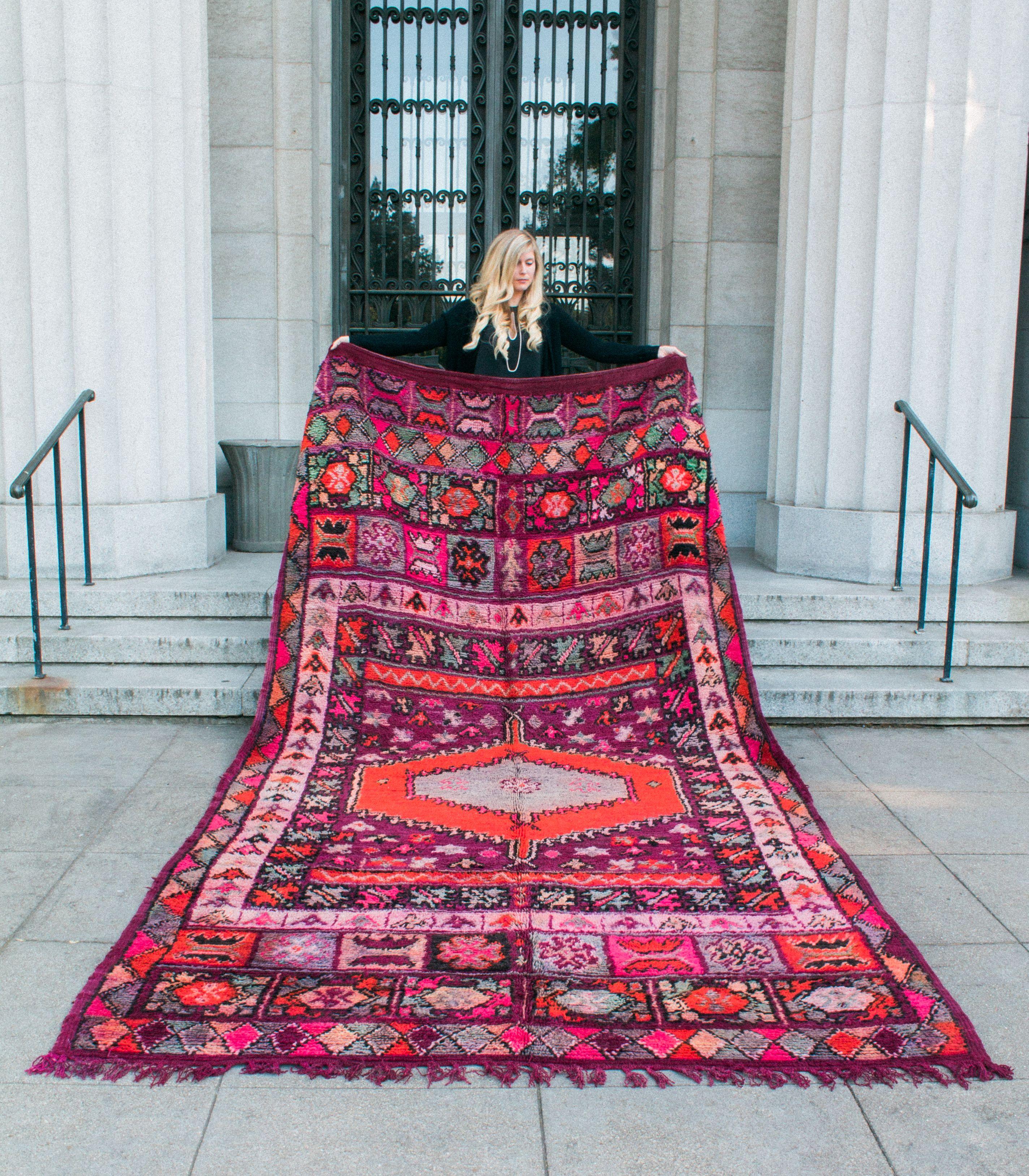 Moroccan Rug Boujad Unique Wool Rug With Colorful Orange Purple