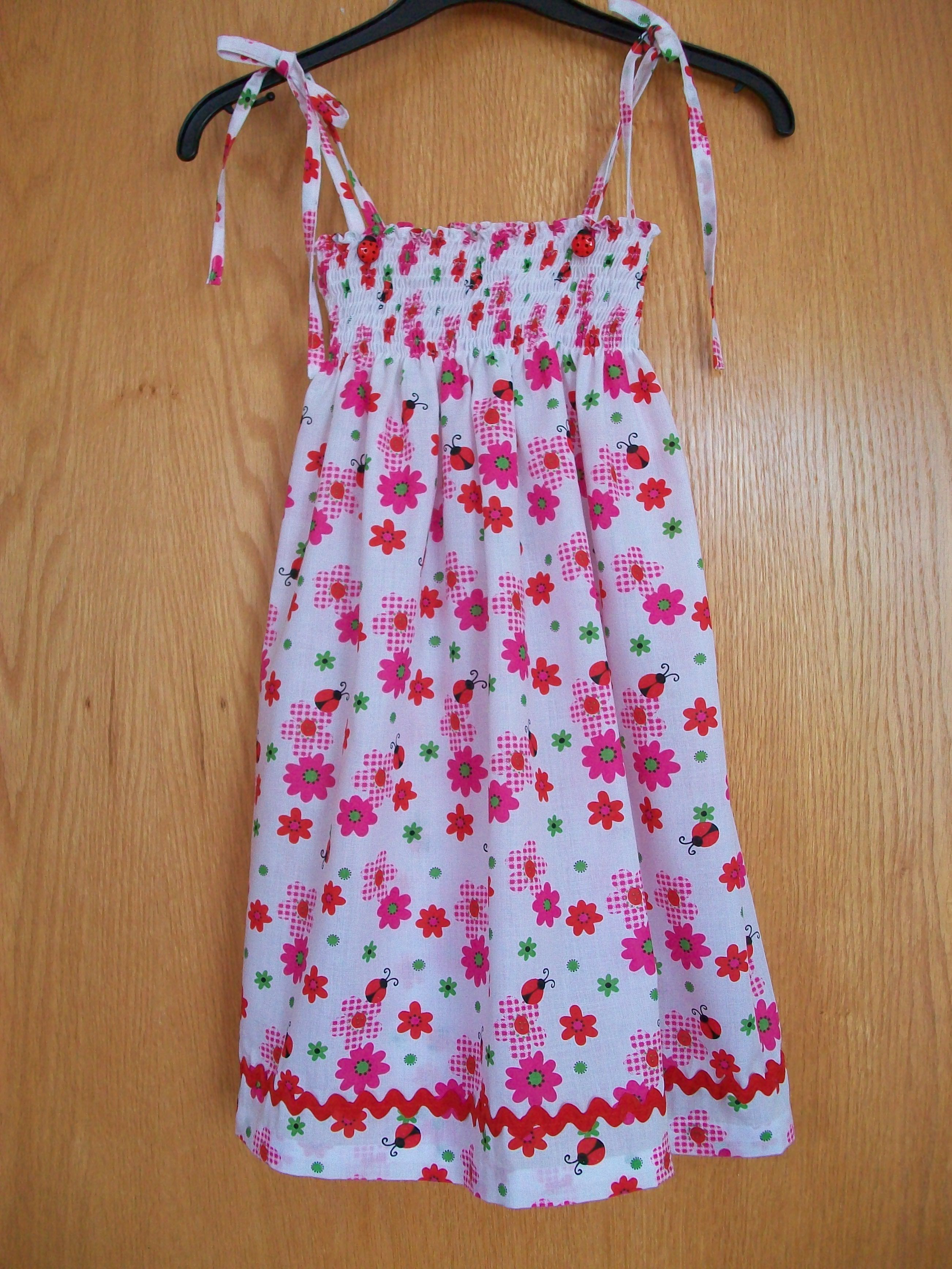 f287d1efc49 Summer dress with shirring elastic top and ladybird design material made by  Ellie C.