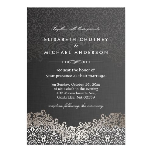 Elegant silver damask classic formal wedding invitation formal formal dinner rehearsal dinner invitations elegant silver damask classic formal wedding card thecheapjerseys Images