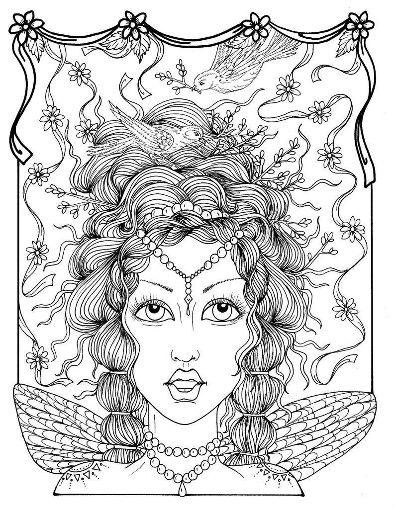 Fairy Hair Coloring Boek Fantasy Schoenen Ruikende En Kronen Etsy Fairy Coloring Pages Coloring Books Coloring Pages