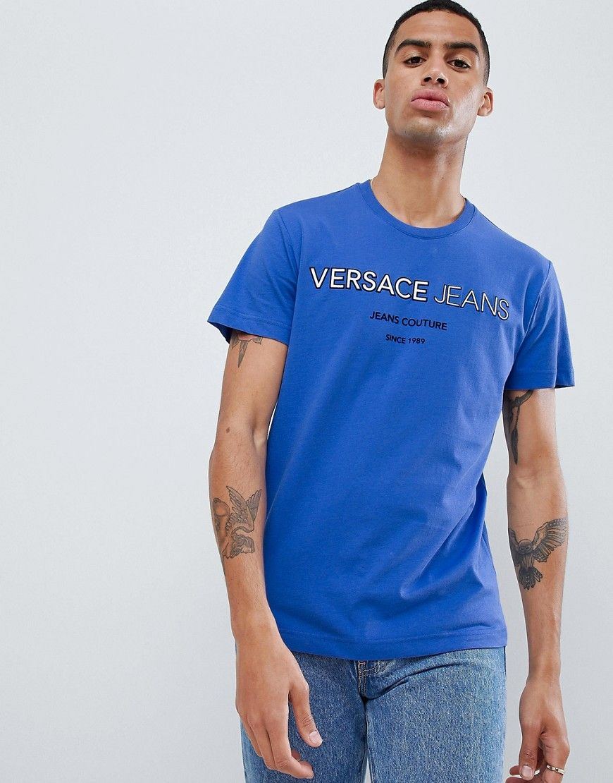With Logo Print T Versace Shirt Blueversacejeanscloth Jeans f76yvYbg