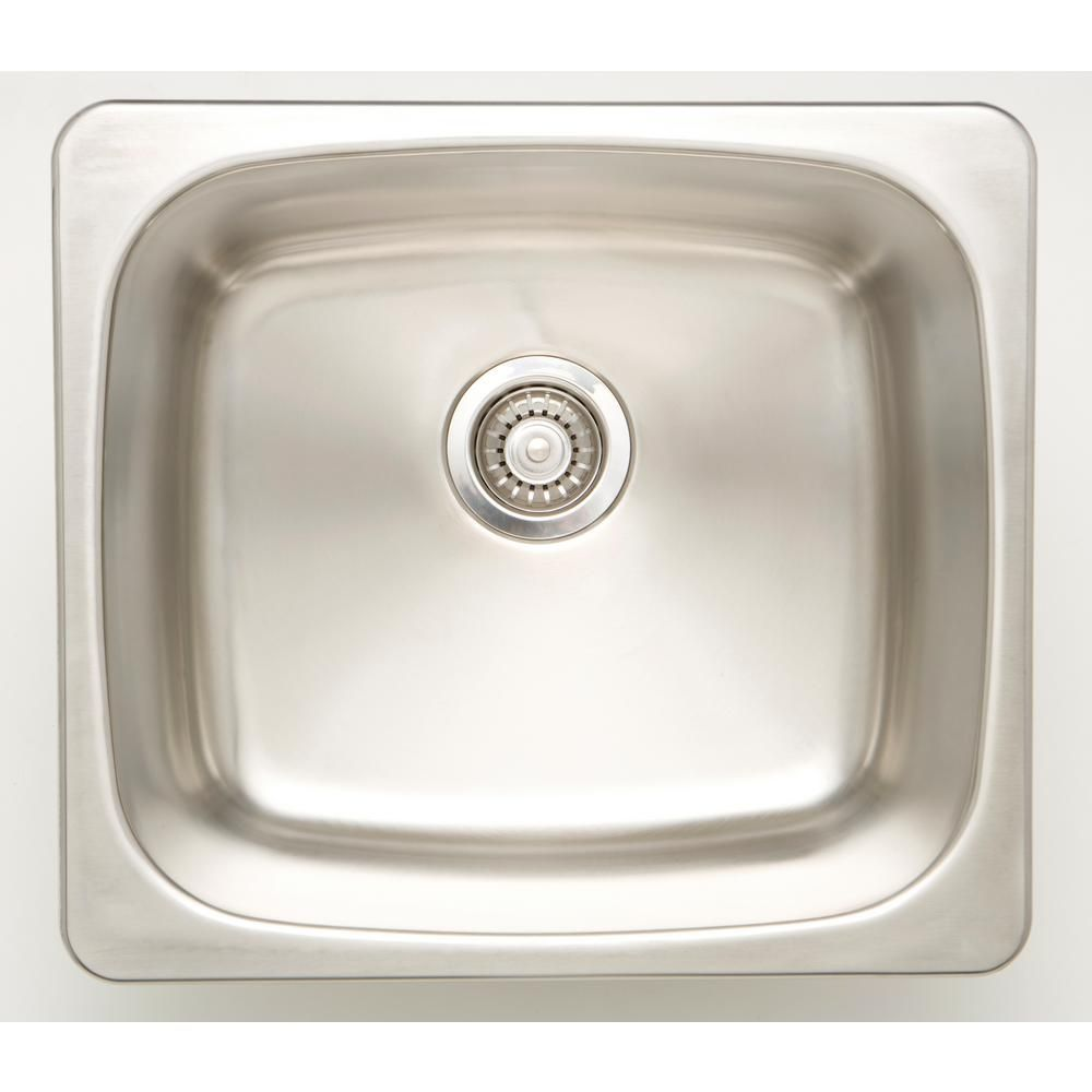 Drop In Stainless Steel 20 In Deck Mount Single Bowl Kitchen Sink