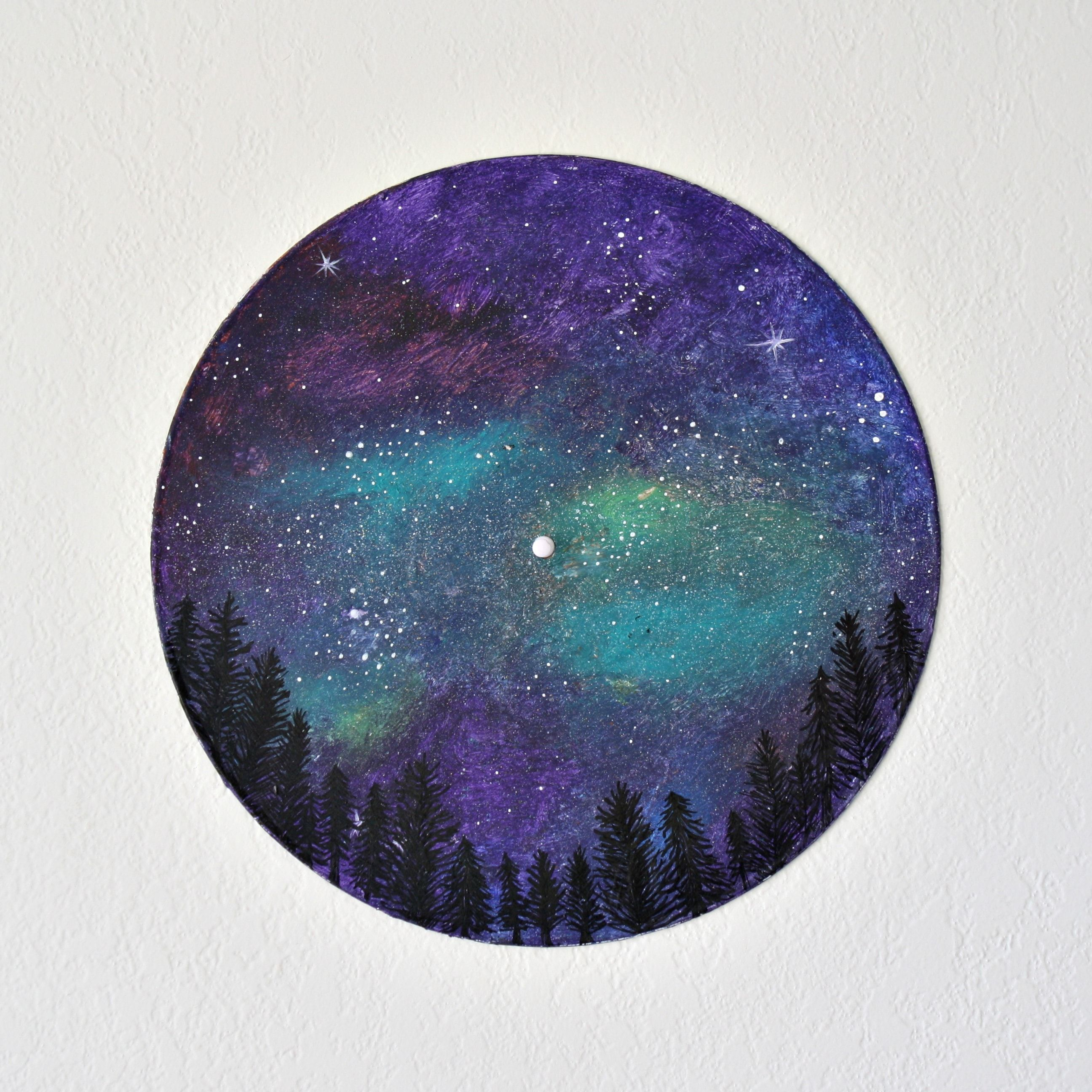 Starry Night Sky Above A Black Silhouetted Forest Painted On A Vinyl Record Inspired By Vancouver Island B C Canad Vinyl Record Art Night Sky Art Vinyl Art