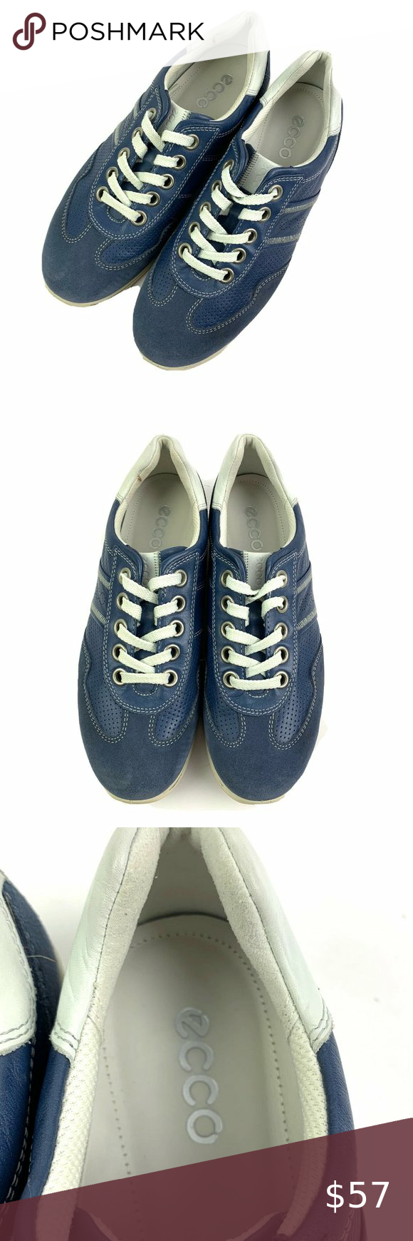 Ecco Womens Shoes 37 Blue Suede Leather