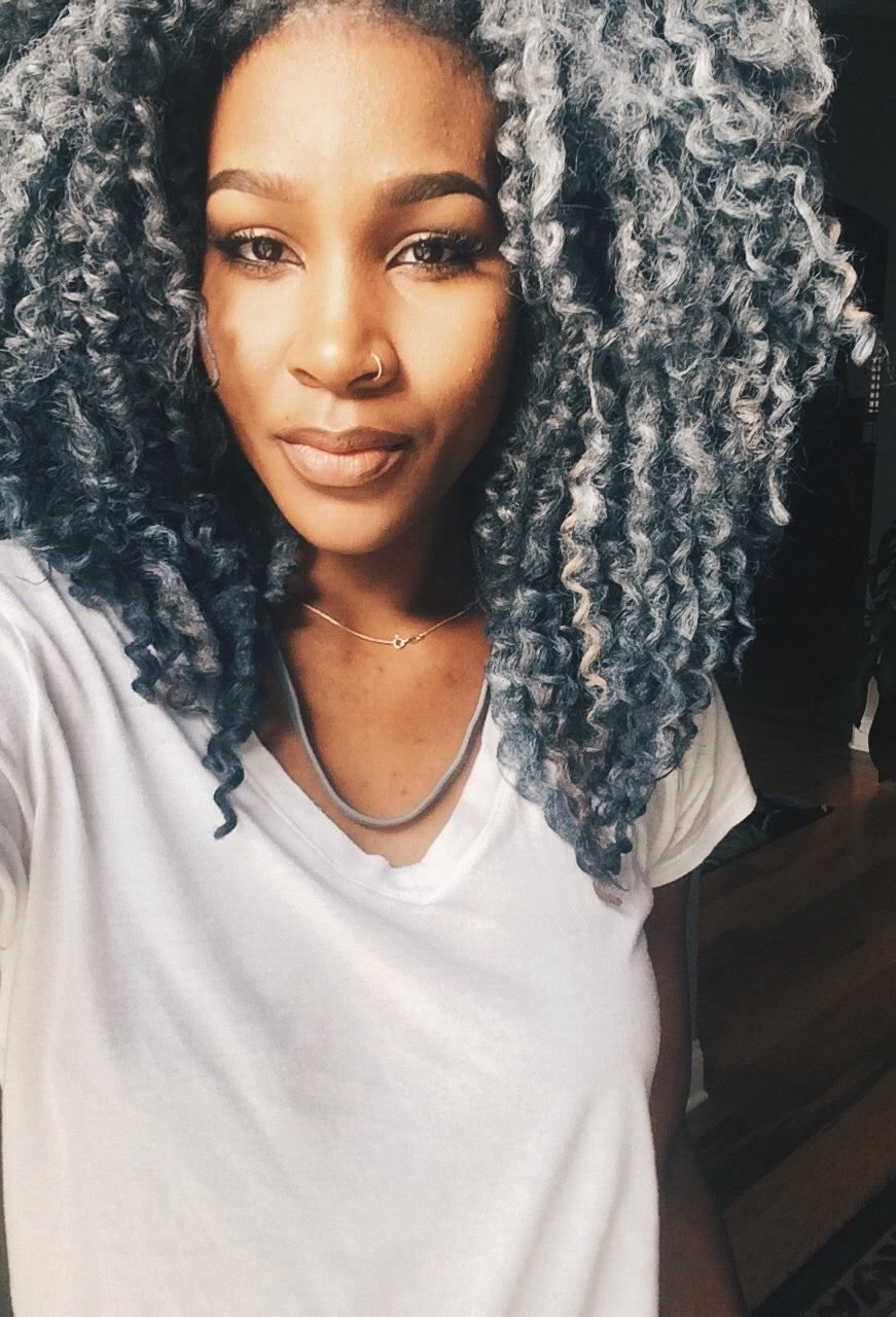 natural grey hair, natural hair is beautiful, grey twist out on long