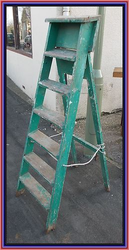 Vintage Painted Shabby Chic Wooden Step Ladder
