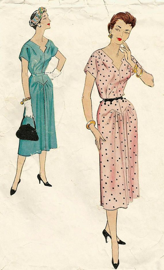 Vintage 50s McCalls 9676 Misses Day Dress with Seam Detail and ...