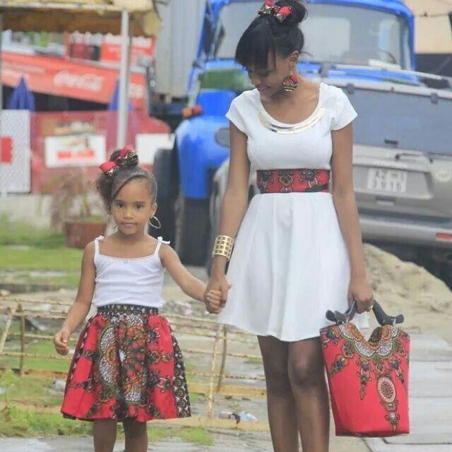 Mère et fille assorties en Pagne, tissu wax Vetement