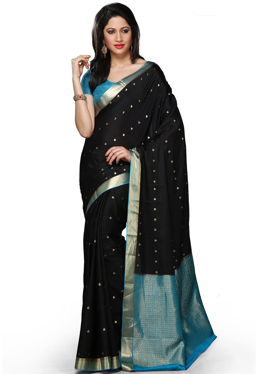 6b696002ec0 Buy Black and Aqua Pure Mysore Silk Saree with Blouse online