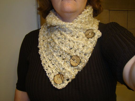 Handmade Cozy Winter Scarf with Coconut Buttons