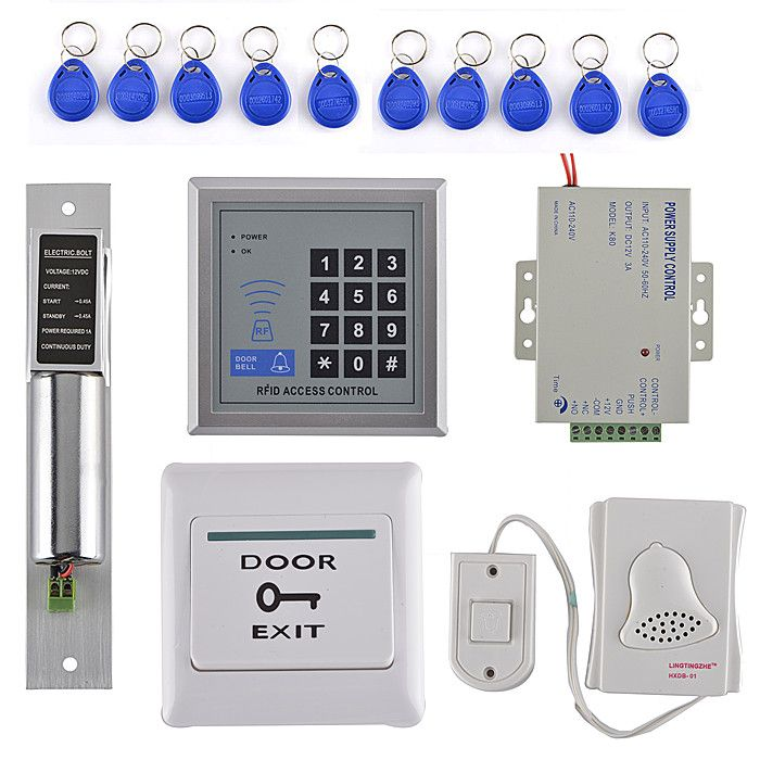 Diy Full Kit Access Control System With Em Reader Strike Door Lock Door Switch For Home Office Access Control Door Switch Access Control System