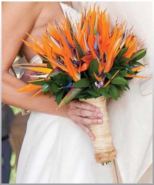 Wedding Flowers, Orange Bird Of Paradise Tropical Wedding Bouquet ...