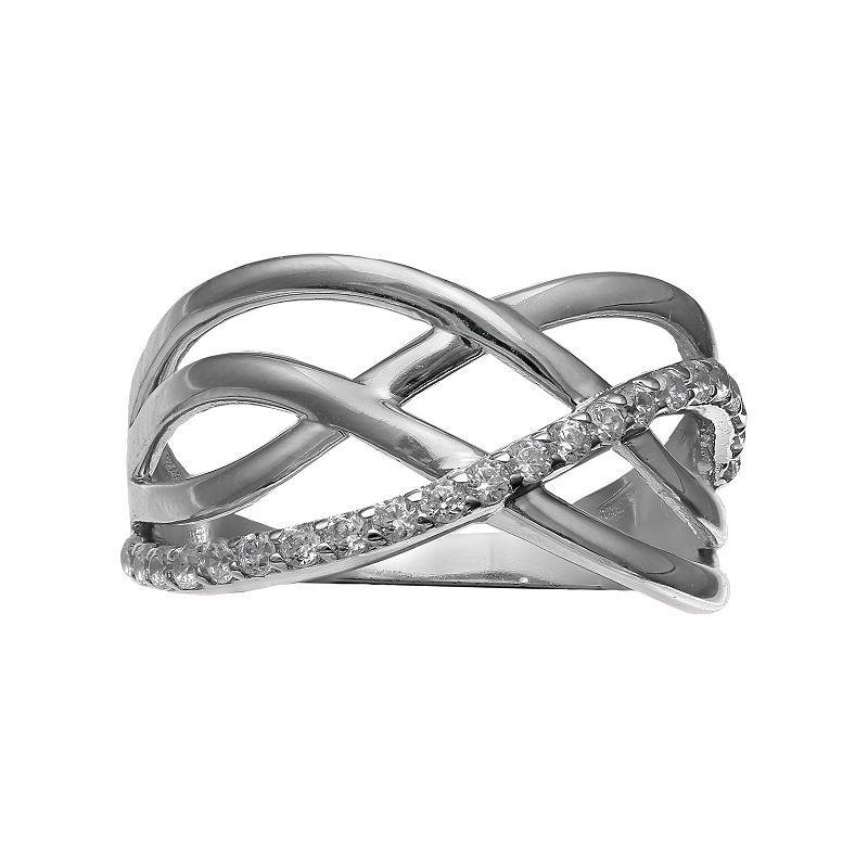 Primrose Sterling Silver Cubic Zirconia Crisscross Multi Row Ring, Women's, Size: 9, White