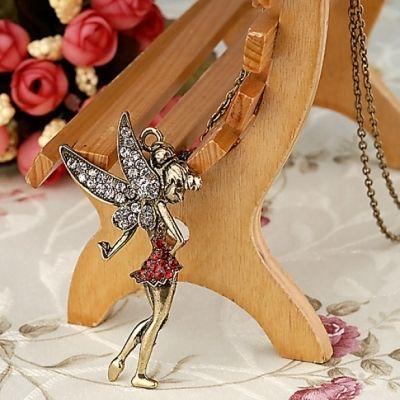 Chic Retro Bronze Alloy Peter Pan Fairy Rhinestone Pendant Long Necklace Chain