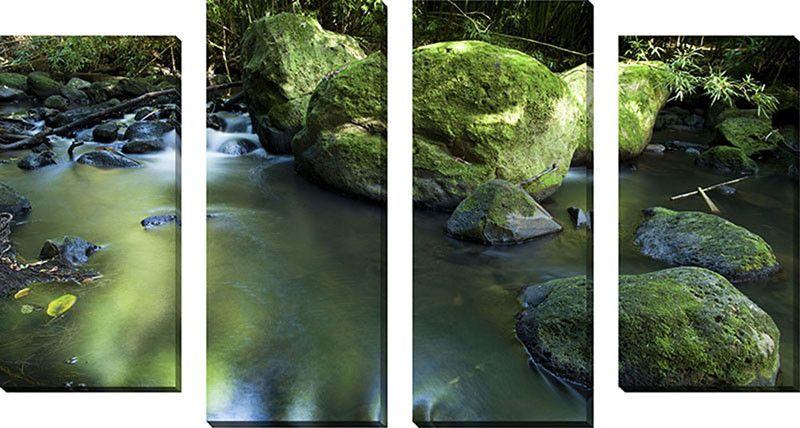 'Nuuanu Stream 2' by Cameron Brooks 4 Piece Photographic Print on Wrapped Canvas Set