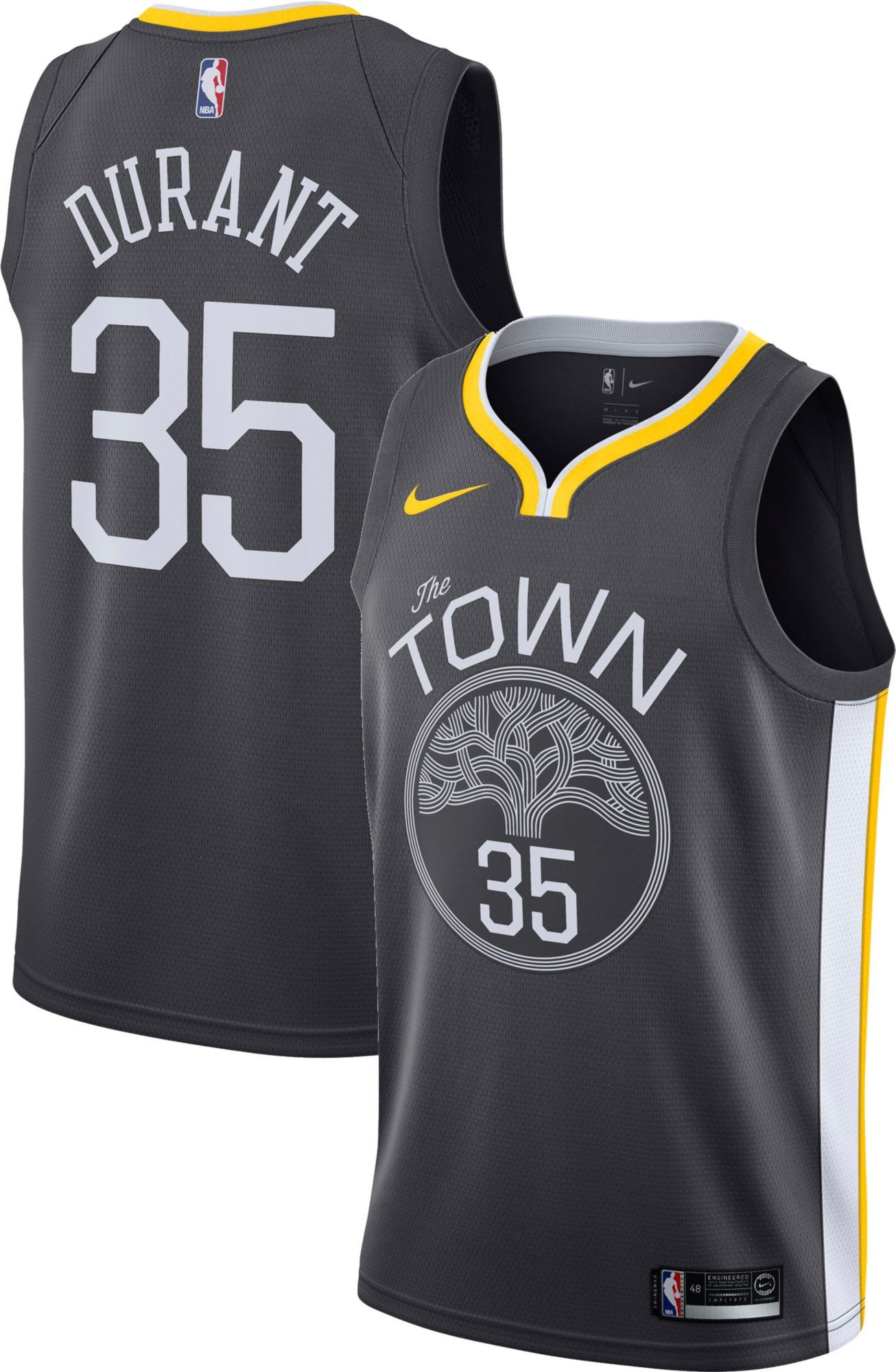 6ff7228ef63 Nike Men s Golden State Warriors Kevin Durant  35 Grey Statement Dri-FIT Swingman  Jersey
