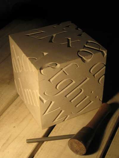 Portland limestone Garden Or Yard / Outside and Outdoor sculpture by artist Will Davies titled: 'Alphabet (Fine Carved stone Cube Lettering sculptures/statuary/statue)'