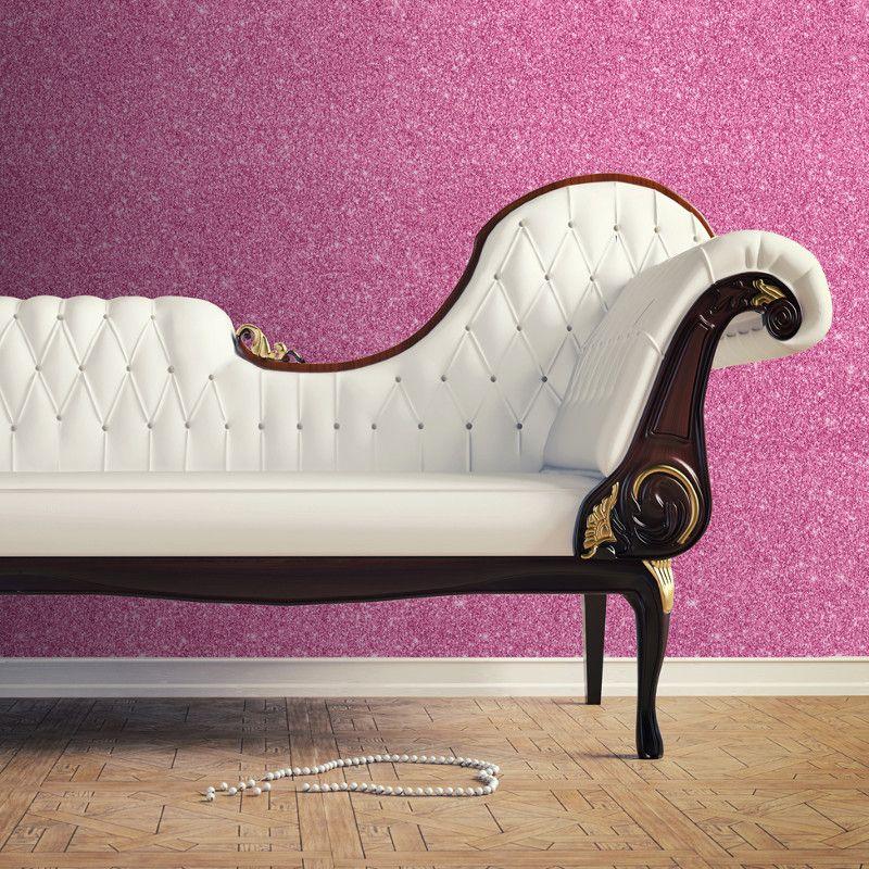 Muriva Sparkle Plain Glitter Wallpaper Hot Pink (With