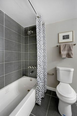 Contemporary Full Bathroom With High Ceiling Specialty Tile Floors Tiled Wall Showerbath Ms International Graphite