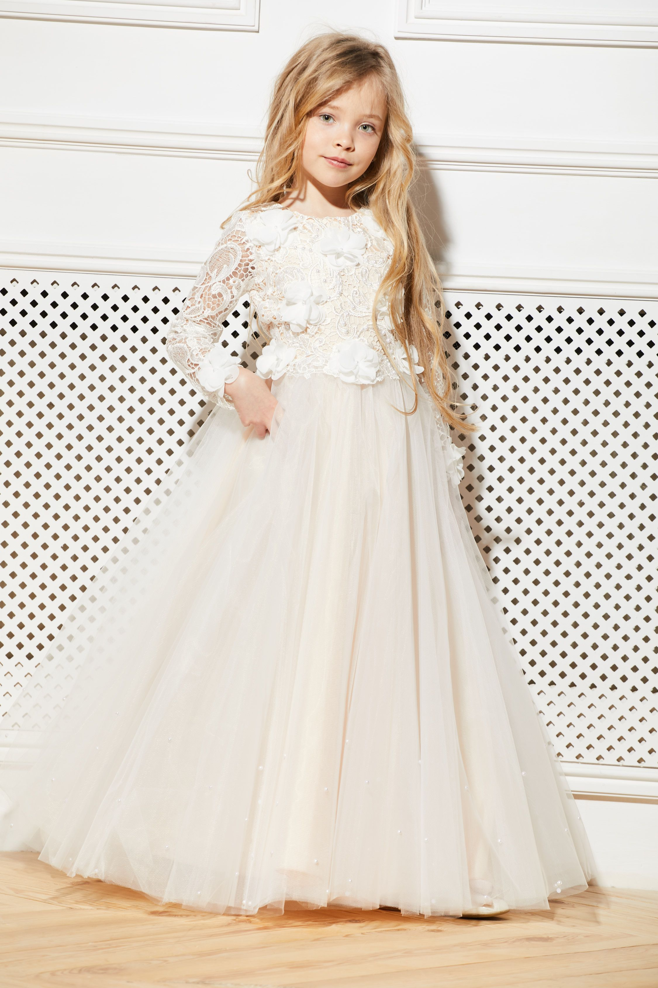 f3fbe8a6980 Ivory Flower Girl Dress Cream Tulle Tutu Birthday Wedding Kids Guipure Blush  Lace Pearls Junior Bridesmaid Ballerina Baby Formal Party USD 85.00+  Gorgeous ...