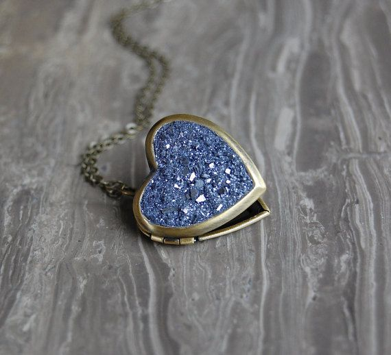 Crushed Crystal Druzy Heart Locket Necklace by bashfulowl on Etsy