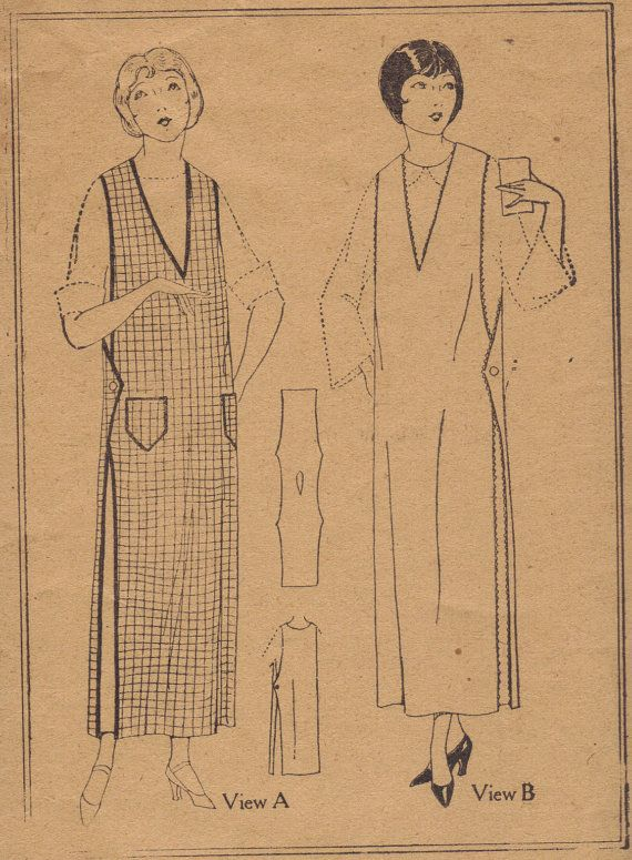 Rare 1920s Sewing Pattern Women\'s Long Apron House Dress Smock ...