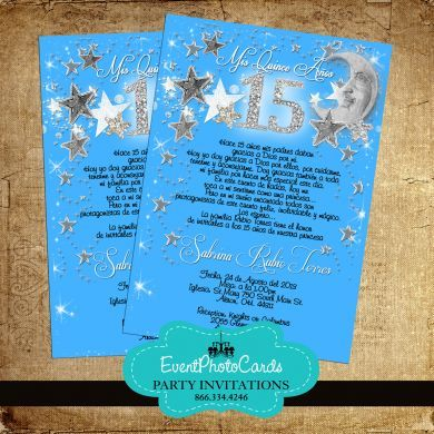 Stars Amp Moon Aqua Blue Quinceanera Invitations In 2019
