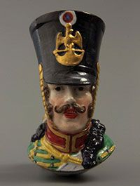 naturalistic portrait of a Napoleontic soldier, porcelaine de Paris, France, 1840-1860
